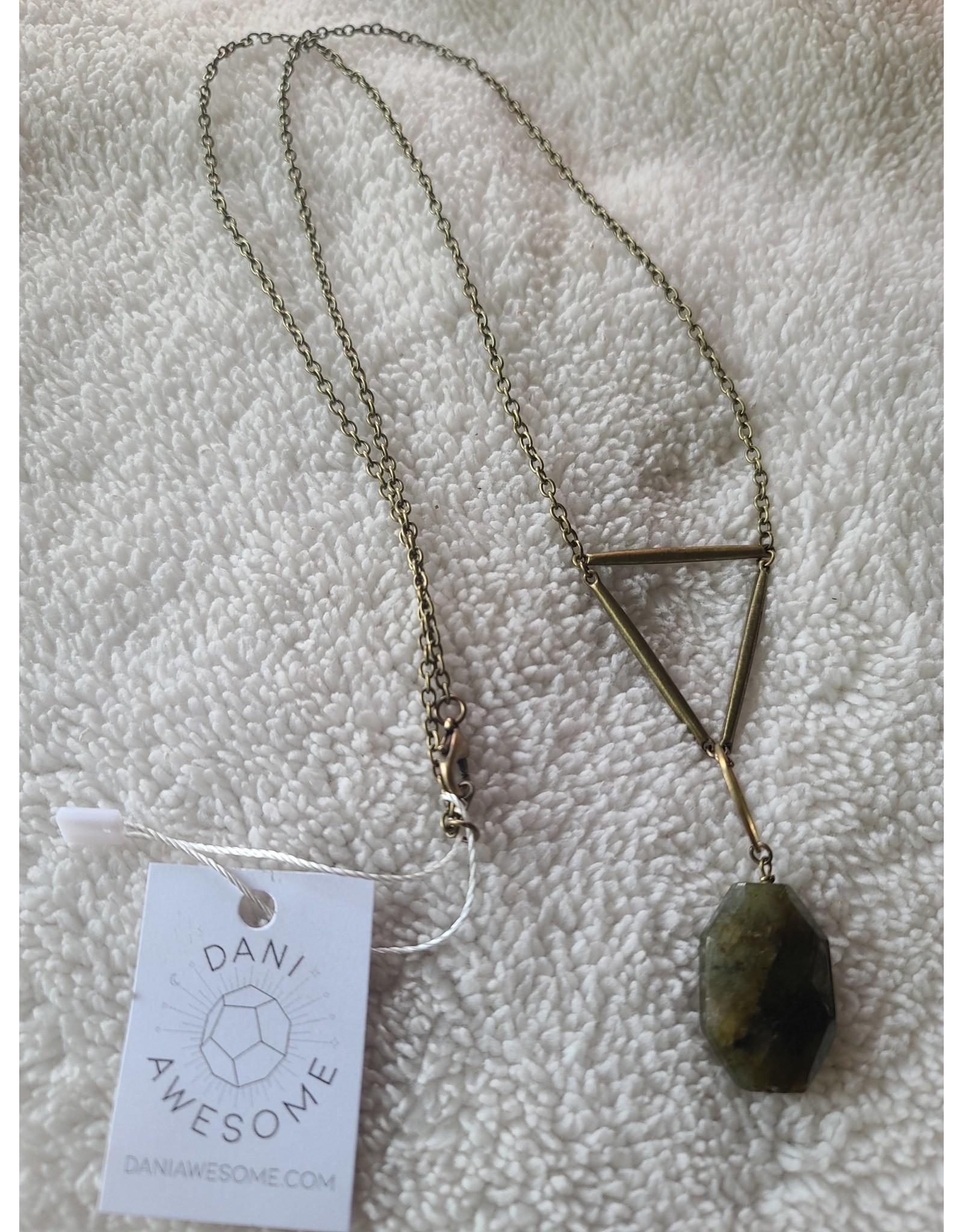 Dani Awesome Brass Labradorite Geometric Necklace