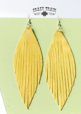 Crazy Train Mustard Fringe Suede Earrings