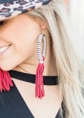 Crazy Train Red Beaded Tassel Earrings