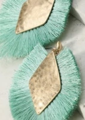 urbanista Diamond Shape Tassel Earrings - Mint