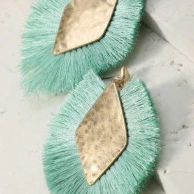 urbanista Diamond Shape Tassel Earrings - Mint