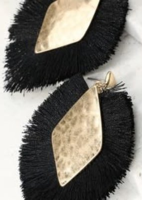 urbanista Diamond Shape Tassel Earrings - Black