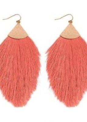 MYS Coral Tassel Earrings