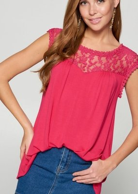 Emerald Collection Fuchsia Lace Trim Tunic Top