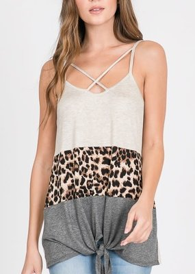 First Love Leopard Color Block Knot Tank