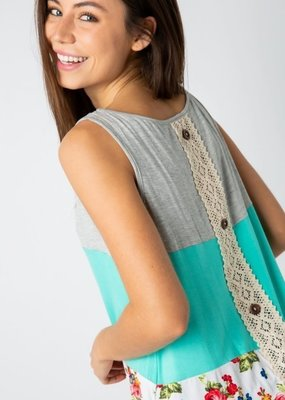 Cezanne Teal Floral Tank with Lace Button Spine