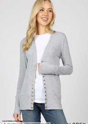 Zenana Gray Snap Button Cardigan