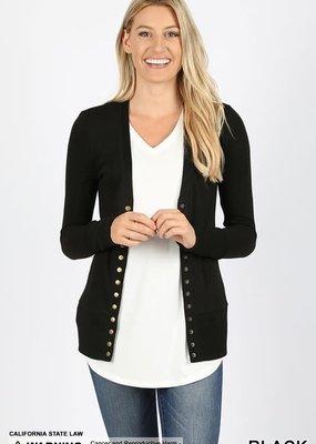 Zenana Black Snap Button Cardigan
