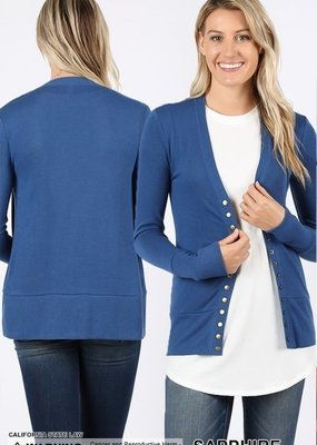 Zenana Blue Snap Button Cardigan