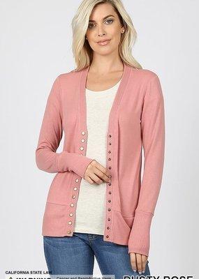 Zenana Dusty Rose Snap Button Cardigan