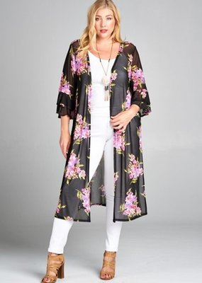 Emerald Long Black Floral Kimono