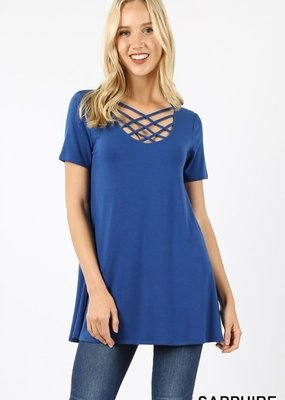 Zenana Blue Caged Neck Top