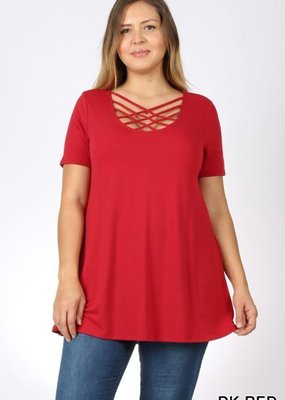 Zenana Red Caged Neck Top