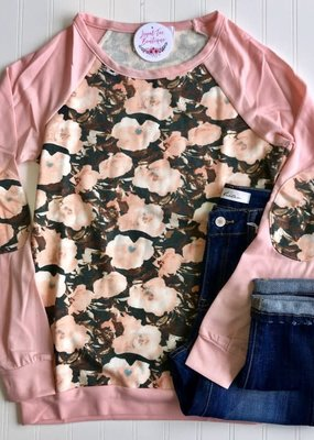 trend notes Peach Floral Raglan Crew Neck Long Sleeve