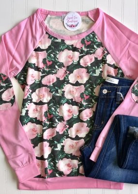 trend notes Pink Floral Raglan Crew Neck Long Sleeve