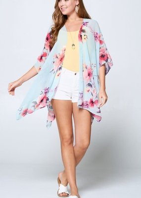 Emerald Collection Floral Sky Blue Kimono