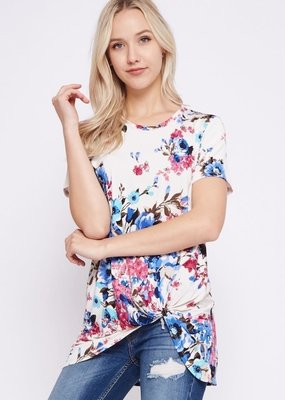 Beeson River Ivory Floral Top with Side Knot
