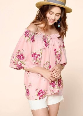 Oddi Floral Printed Top with a Smocked Ruffled V-Neck