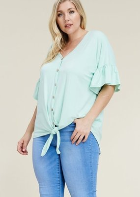 Reborn J Ruffle Sleeve Top with Front Tie - Mint Green