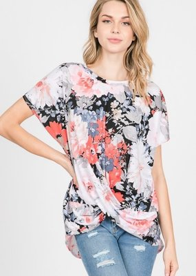 Cezanne Floral Twist Knot Top