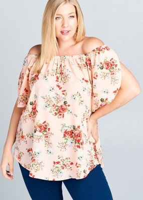 Emerald Peach Off The Shoulder Floral Top