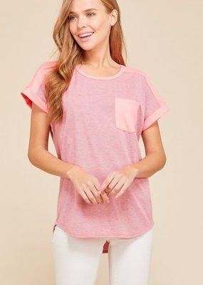 Haptics Hot Pink Stripe T with Pocket
