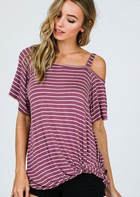 Cezanne Purple Striped One Shoulder Top with Side Twist Hem