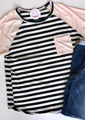 143 Story Black and White Stripe Raglan