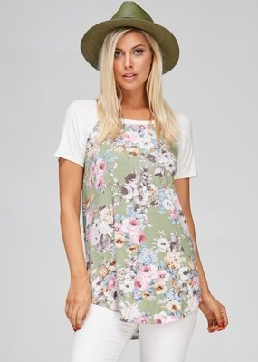 Cezanne Olive Floral Tee