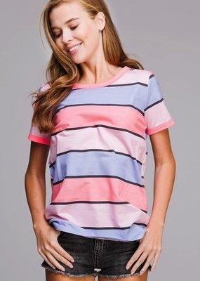 BIBI Multi Color Stripe Fushia Top