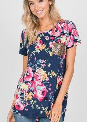 Hemish USA Floral Print Top with Sequin Pocket