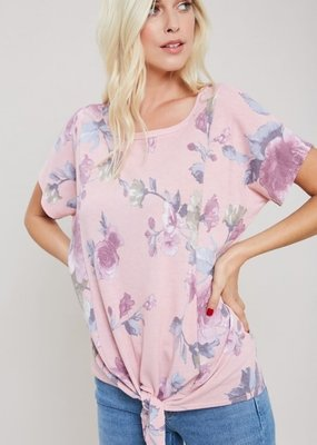 EESOME Floral Print Middle Tie Short Sleeve Tee