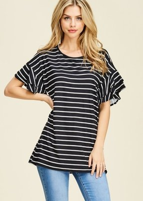 Reborn J Black and White Stripe Top with Ruffled Sleeves