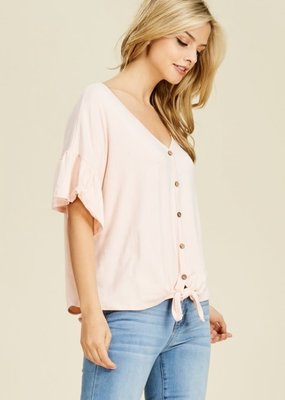 Reborn J Ruffle Sleeve Top with Front Tie - Lite Pink