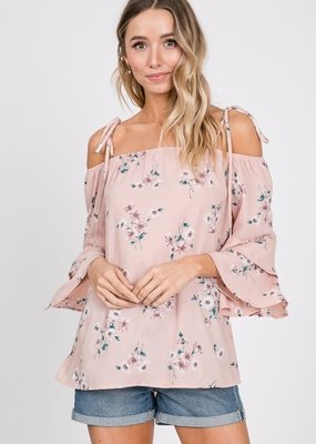 Cezanne Floral Cold Shoulder Top with Spaghetti Bow Tie Straps
