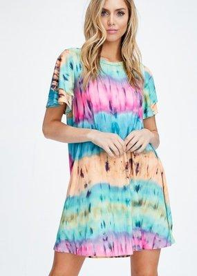 Cezanne Short Sleeve Tie Dye Pocket Dress