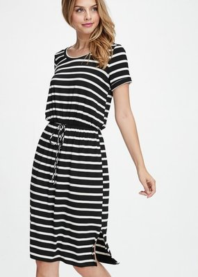 White Birch Black and White Striped Knit Dress with Pockets