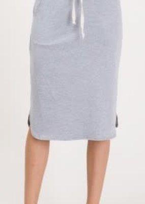 American Fit Gray Elastic Midi Waist Skirt