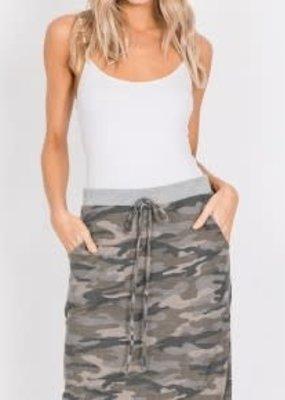 American Chic Camo Elastic Midi Waist Skirt