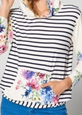 Cezanne Floral Raglan Hoodie with 3/4 Sleeve