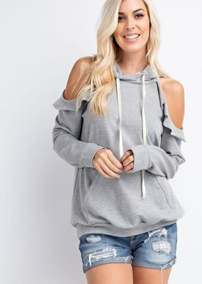 143  Story Gray Cold Shoulder Hoodie