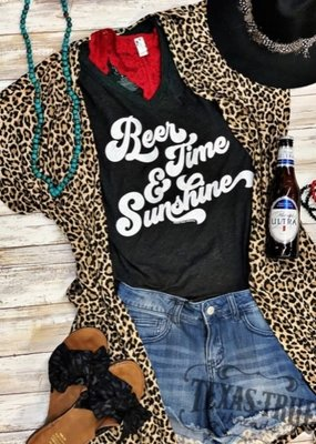 texas true Threads Beer & Sunshine V-Neck Tee Shirt