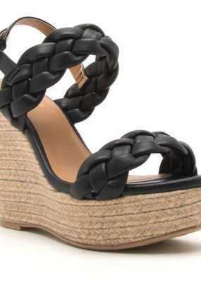 MDC Black Braided Wedge Sandal