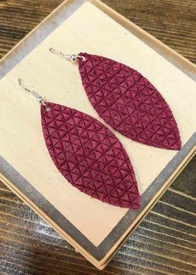 Deer Addie Handmade Burgundy Leather Earrings