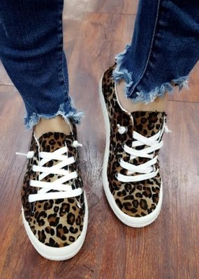LA Shoe King Leopard Slip On Lace Shoe