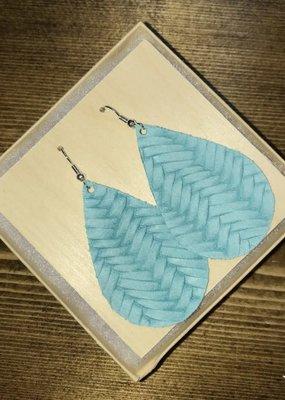 Deer Addie Handmade Teal Leather Earrings