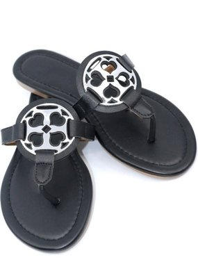 Makers Shoes Black and Silver Sandals