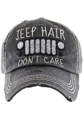 Too Too Hat Jeep Hair Don't Care Hat - Charcoal