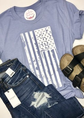 IUA Heather Blue Distressed Flag Tee