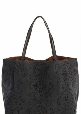 Street level Charcoal Embroidered Tote with Inside Pocket